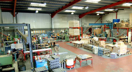 Extruded cast and machined lead products in factory