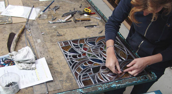 Lead came used in stained glass